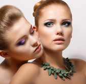 Bonding. Allure. Faces of Two Sensual Pretty Women Closeup. Aspiration — Stock Photo