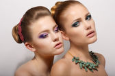 Sensuality. Two Romantic Young Women Girlfriends dating. Desire & Passion — Stock Photo