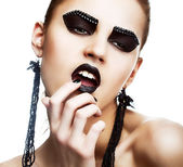 Individuality. Expression. Face of Extraordinary Ultramodern Hippie with Extreme Make-up. Subculture — Stock Photo