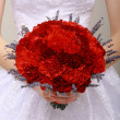 Stock Photo: Donation. Compliment.Vernal Bouquet of Red Flowers in Woman's hands. Felicitation