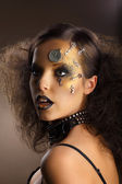 Futurism. Bodyart. Golden Painted Woman's Skin with Silver Accessory. Art Deco — Stock Photo