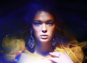 Color. Portrait of Trendy Woman in Soft Fantastic Lights — Stock Photo