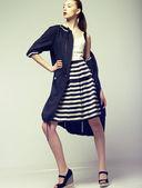 Tendency. Beautiful Fashion Model in Outwear. Elegance — Stock Photo