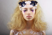 Fantasy. Portrait of Bright Blond with Unusual Makeup. Creativity — Photo