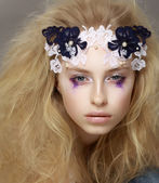 Lace. Closeup Portrait of Stylish Attractive Fashion Model with Modern Makeup — Stock Photo