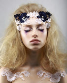Relax. Styled Enigmatic Blonde with Painted Skin. Dreams with Closed Eyes. Beauty — Stock Photo