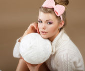 Pure Beauty. Woman in White Fluffy Knitted Pullover with Hank of Thread — Stock Photo