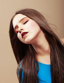 Dreaminess. Portrait of Sensual Dreaming Brunette with Straight Brown Hair — Stock Photo