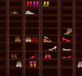 Wardrobe. Brown Wood Shelves with Women's Shoes. Fashion — Stock Photo