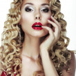 Glance. Frizzle. Sexy Bright Blonde with Curly Hair. Red Sensual Lips — Stock Photo