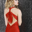 Vogue Style. Elegance. Fashion Woman in Red Prom  Dress. Rear View — Stockfoto