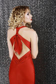 Vogue Style. Elegance. Fashion Woman in Red Prom Dress. Rear View — Stock Photo