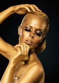 Glint. Coloring. Mysterious Woman with Golden Faceart. Creative Concept — Stock Photo