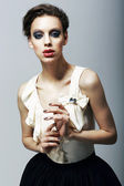 Luxury. Magnetism. Eccentric Fashion Model in Trendy Dress. Character — Stock Photo