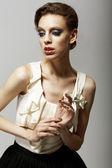 Vitality. Ultramodern Luxurious Supermodel in Fashion Sleeveless Dress. Ambition — Stock Photo