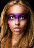Portrait of Style woman with Vivid Violet Make-up. Rainbow — Stock Photo
