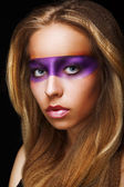 Fantasy. Coloring. Trendy Woman with Shiny Colorful Makeup. Faceart — Stock Photo