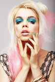 Vitality. Eccentric Blond with Theatrical Cyan Makeup. Dyed Pink Hair — Stock Photo