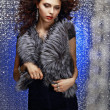 Femininity and Sensuality. Gorgeous Sophisticated Lady in Fur Vest — Stock Photo