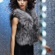 Glamour. Shapely Good Looking Woman in Gray Fur Waistcoat — Stock Photo