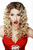 Provocative Classy Blond Licking her Red Sexy Lips — Stock Photo