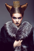 Nobility. Honorable Princess with Golden Crown. Creative Concept — Stock Photo