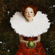 Vintage. Stylized Red Hair Woman in Retro Jabot with Green Apple — Stock Photo