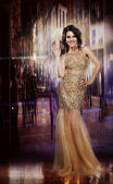 Elegance. Glamorous Glorious Lady in Yellow Dress. Formal Party — Stock Photo