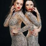 Luxury. Two Sexy Glamorous Women in Shiny Dresses — Stock Photo