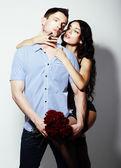 Affection. Bonding. Seductive Couple - Man and Woman Embracing — Stock Photo