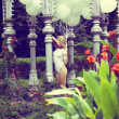 Sentiment. Beautiful Relaxed Blonde holding Air Balloons in Garden — Stock fotografie #30884083