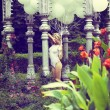 Sentiment. Beautiful Relaxed Blonde holding Air Balloons in Garden — ストック写真 #30884083