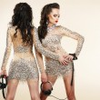 Fete. Clubbing. Two Women in Shiny Silver Dresses with Rhinestones — Stock Photo #30958085