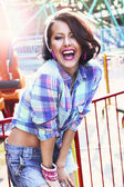 Enjoyment. Gladness. Expressive Woman in Checkered Shirt with Toothy Smile — Stock Photo