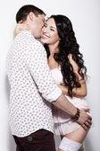 Erotism. Libidinous Flirty Couple Gently Embracing Together — Stock Photo