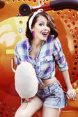 Lifestyle. Amusing Funny Girl with Cotton Candy Smiling — Stock Photo