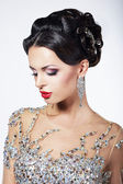 Formal Party. Gorgeous Fashion Model in Ceremonial Shiny Dress with Jewels — Stock Photo
