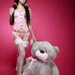 Fascinating Young Woman in Pink Lingerie with her Fondling - Soft Toy — Stock Photo #32178373