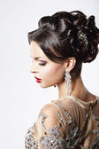 Profile of Classy Brown Hair Lady with Jewelry and Festive Hairstyle — Stock Photo
