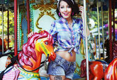 Rejoicing. Merriment. Excited Lively Woman in Funfair Smiling — Stock Photo