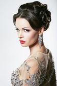 Prosperity. Luxury. Glamorous Showy Woman with Diamond Earrings — Stock Photo