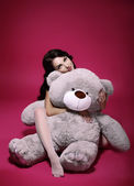 Dreaminess. Sentimental Girl with Soft Toy - Gray Bruin in Embrace — Stock Photo