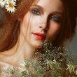 Pure Beauty. Auburn Girl holding Bouquet of Wildflowers. Tenderness — Stok Fotoğraf #33640889