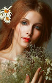 Pure Beauty. Auburn Girl holding Bouquet of Wildflowers. Tenderness — Stock Photo