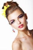 Tendency. Futurism. Showy Fashion Model with Long Eyelashes — Stock Photo