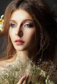 Autumn. Pensive Romantic Brunette with Leafy Withered Herbarium — Stock Photo
