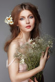 Sentiment. Portrait of Redhair Nostalgic Woman with Herbs — 图库照片