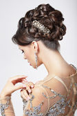 Elegance and Chic. Beautiful Brunette with Classy Hairstyle. Luxury — Stock Photo