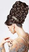 Luxury. Fashion Model with Trendy Updo - Braided Tress. Vogue Style — Stock Photo