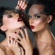 Stock Photo: Dainty. Two Provocative Women in Veils with Cherry Berries. Temptation